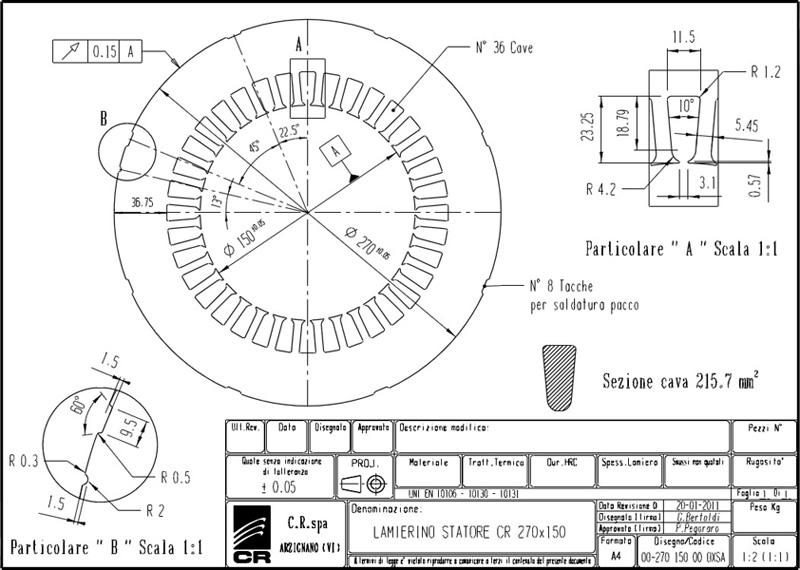 Laminations Stators CR 270x150 OXSA C.R. Spa