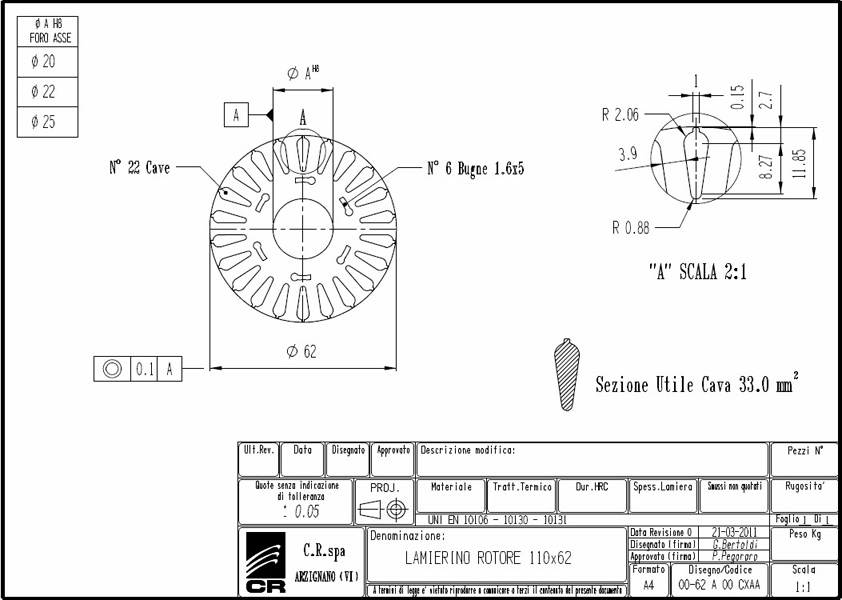 Laminations Rotors CR 110x62 CXAA C.R. Spa