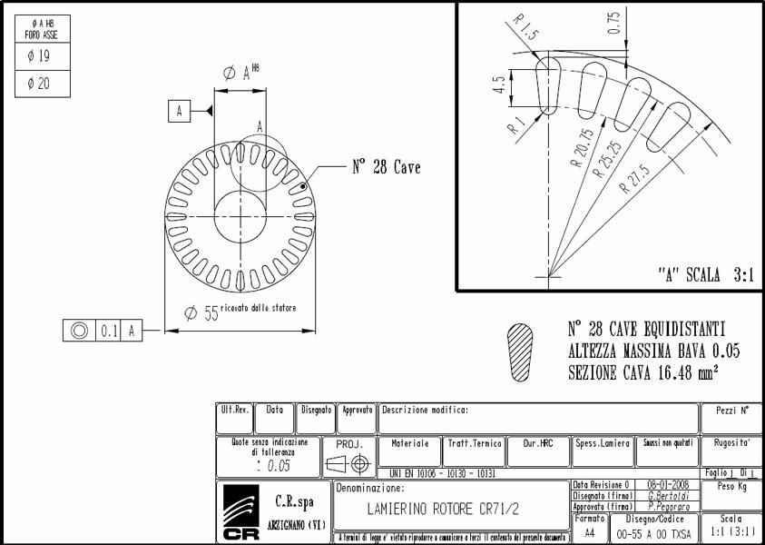 Lamierino Rotore CR 110x55 TXSA C.R. Spa