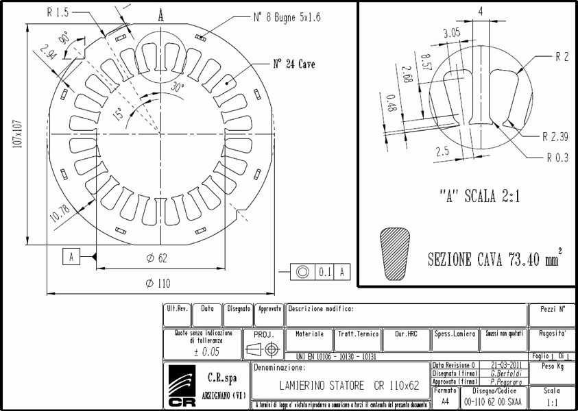 Lamierino Statore CR 110x62 SXAA C.R. Spa