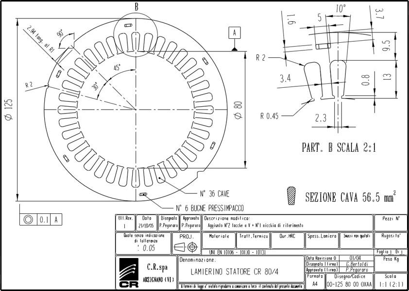 Lamierino Statore CR 125x80 OXAA C.R. Spa