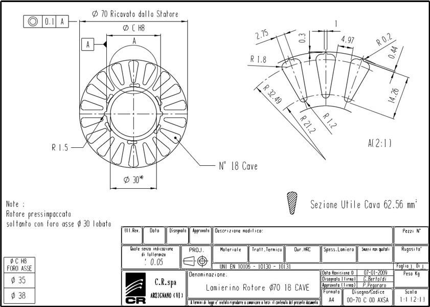 Lamierino Rotore CR 135x70 AXSA C.R. Spa