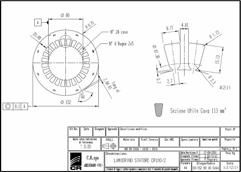 Lamierino Statore CR 152x80 SXAA C.R. Spa