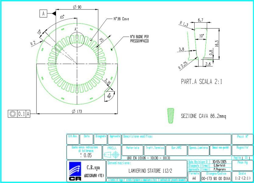 Lamierino Statore CR 173x90 OXAA C.R. Spa