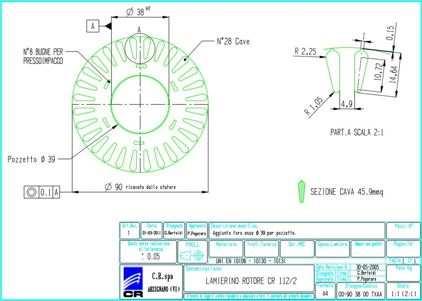 Laminations Rotors CR 173x90 TXAA C.R. Spa