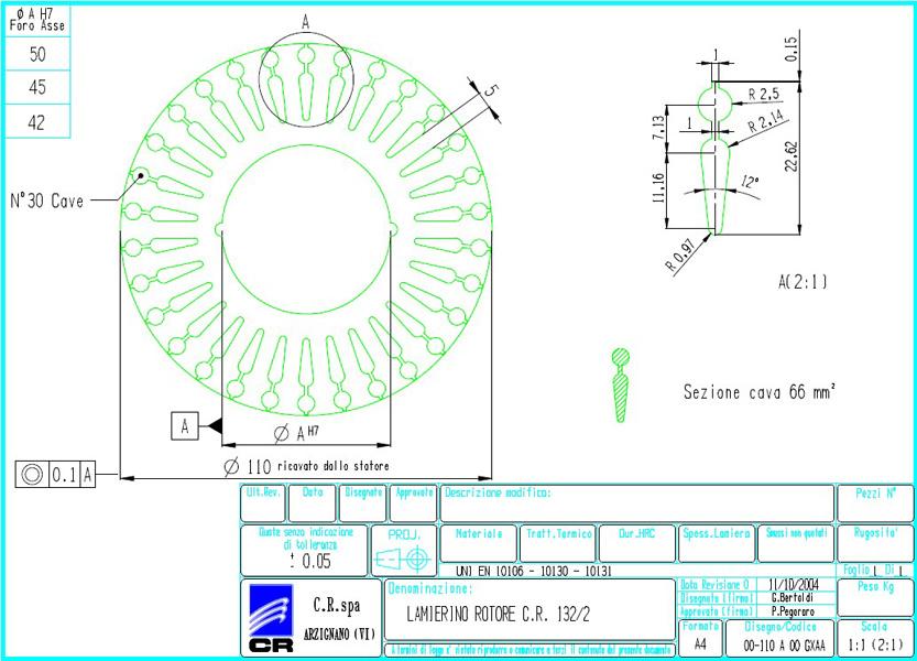 Lamierino Rotore CR 200x110 GXAA C.R. Spa