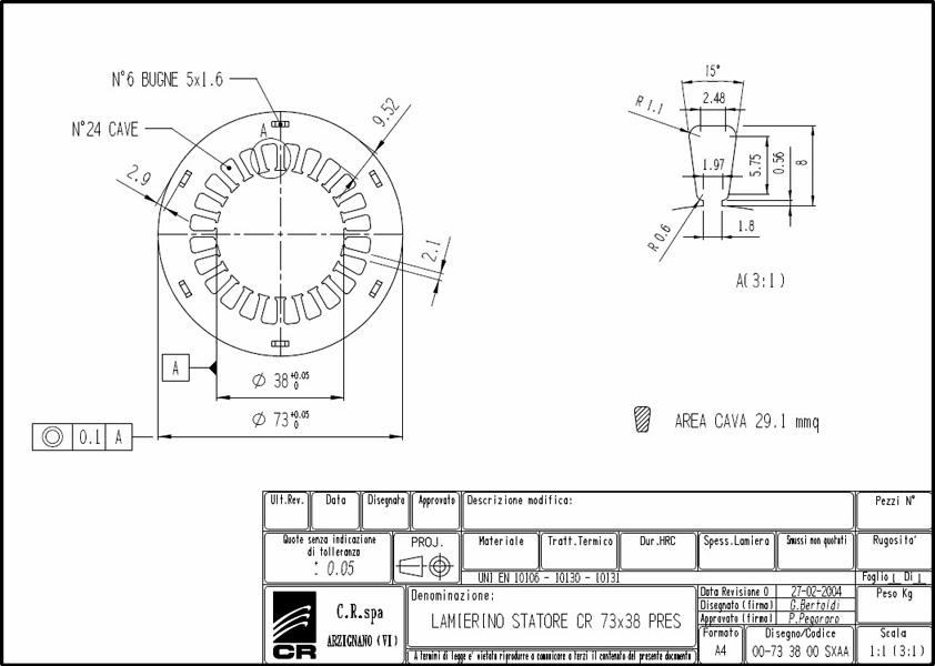 Lamierino Statore CR 73x38 SXAA C.R. Spa
