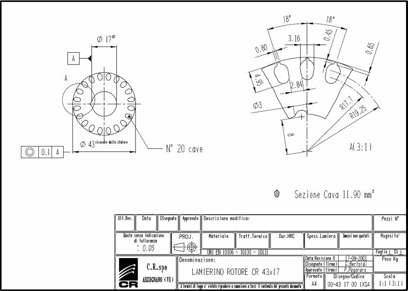 Lamierino Rotore CR 78x43 IXSA C.R. Spa