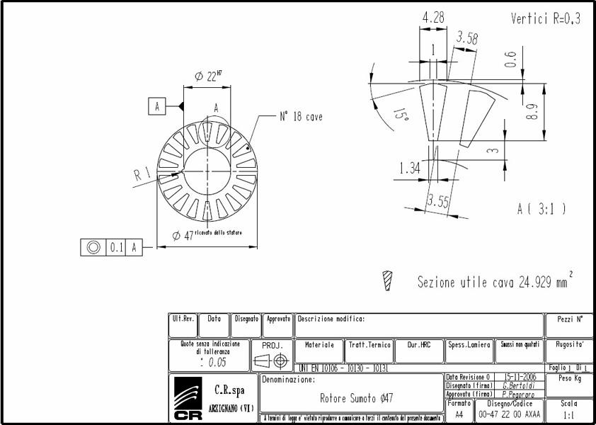 Lamierino Rotore CR 90x47 AXAA C.R. Spa