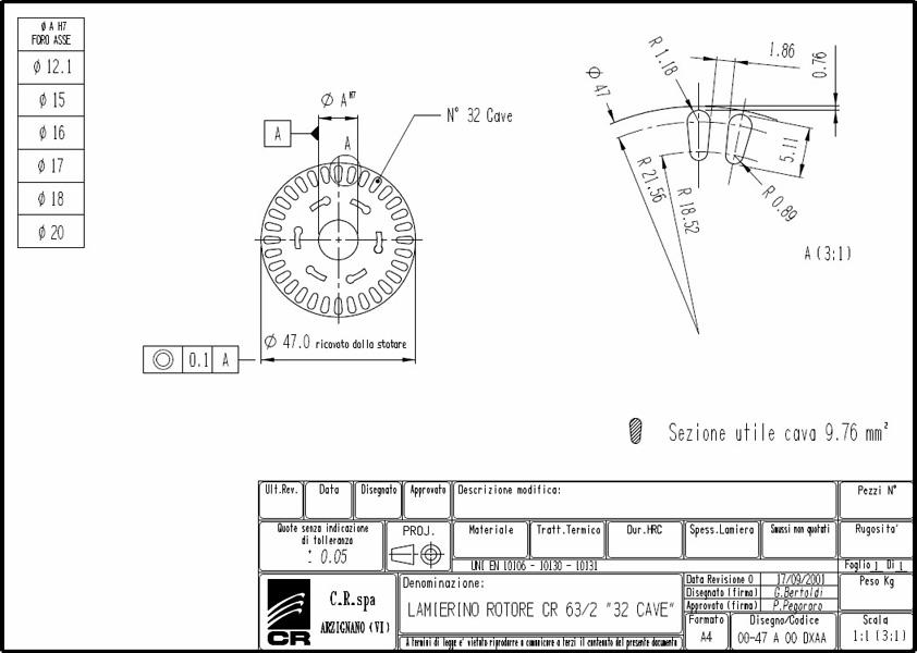 Lamierino Rotore CR 90x47 DXAA C.R. Spa