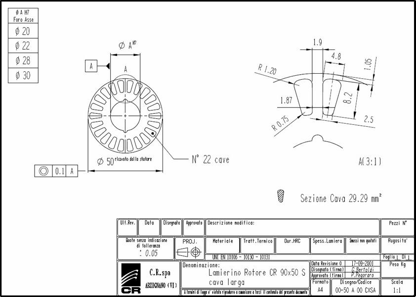 Lamierino Rotore CR 90x50 CXSA L C.R. Spa
