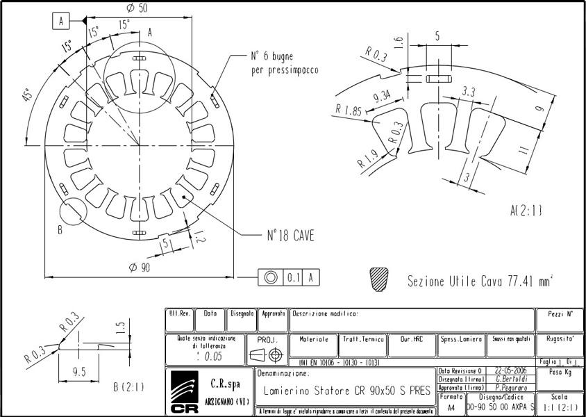 Lamierino Statore CR 90x50 AXPA S C.R. Spa