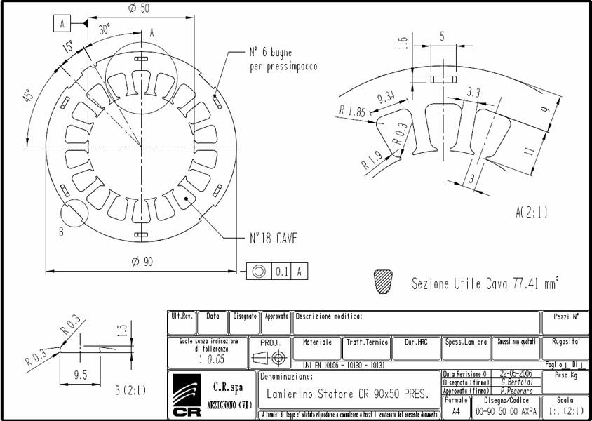 Lamierino Statore CR 90x50 AXPA C.R. Spa